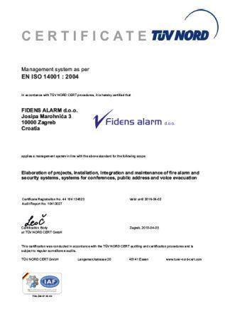 Fidens alarm ISO14001 eng