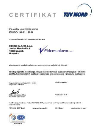 Fidens alarm ISO14001 hrv
