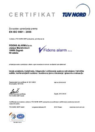 Fidens alarm ISO9001 hrv